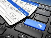 Online booking airplane tickets. Laptop keyboard.  3d