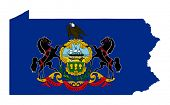 State of Pennsylvania flag map isolated on a white background, U.S.A.