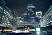 LONDON, UK - SEP 27: Canary Wharf at night on September 27, 2013 in London, UK. It is one of London'