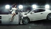 stock photo of deformed  - Conceptual photo of a crashed car - JPG
