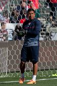 CARSON, CA. - FEB 01: USA GK Nick Rimando #1 during the U.S. mens national team soccer friendly against Korea Republic on Feb 1st 2014 at the StubHub Center in Carson, Ca.
