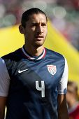 CARSON, CA. - FEB 01: USA D Omar Gonzalez #4 during the U.S. mens national team soccer friendly agai