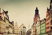 Wroclaw, Poland. The market square with historical buildings and St. Elizabeth's Church. Silesia reg