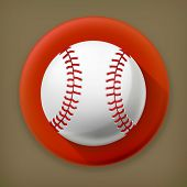Baseball, long shadow vector icon