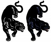 stock photo of panther  - black panther  tattoo illustration isolated on white background - JPG