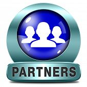 Partners blue icon our business partnership and cooperation group in team work