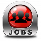 job search finding jobs and employment, open vacancy or help wanted red icon or button