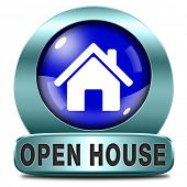Open house sign or icon donâ??t buy or rent a house before you visit the real estate or model house