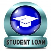 student loan icon for university or college education scholarship grants