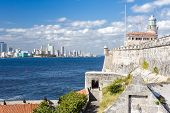 picture of el morro castle  - The fortress and lighthouse of El Morro with the Havana skyline clearly visible in the background - JPG
