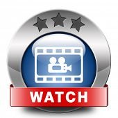 Video play clip or watch movie online or in live stream, multimedia button banner or icon