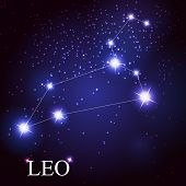 stock photo of leo  - vector of the leo zodiac sign of the beautiful bright stars on the background of cosmic sky - JPG