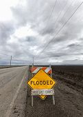 Flooded Roadway Sign Vertical Image
