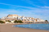 Peniscola Castle and beach in Castellon Valencian community of spain