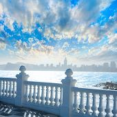 pic of balustrade  - Benidorm balcon del Mediterraneo Mediterranean sea white balustrade in Alicante Spain - JPG