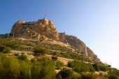 Alicante Santa Barbara Castle in Spain high up the mountain near Mediterranean sea
