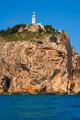 Cabo de la Nao Cape lighthouse in mediterranean sea Alicante Spain