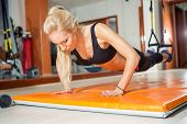 fit woman in fitness salon in push up pose exercise