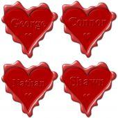 Постер, плакат: Валентина Любовь сердца с именами: Джордж Коннор Натан Шон