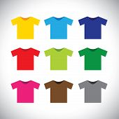 Colorful T-shirts Vector Icons
