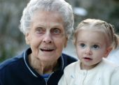 picture of nana  - Toddler and her great great grandmother share a moment of wonder - JPG