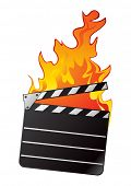 Clapboard in fire