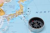 Travel Destination Japan, Map With Compass
