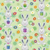 Seamless pattern, Easter Bunnies with gift boxes