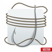 Realistic Fishing Hook With Rope. Vector