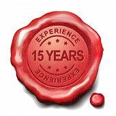 foto of 15 year old  - 15 years experience red wax seal over white background - JPG
