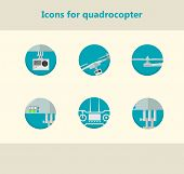 Flat circle vector icons for monitoring with quadrocopter
