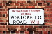 picture of kensington  - Portobello Road sign in the street market at Notting Hill - JPG