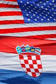 American And Croatian National Flags