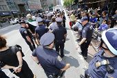 NYPD line up arrested activists for transport