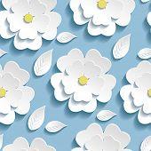 Trendy Seamless Pattern With 3D White Sakura