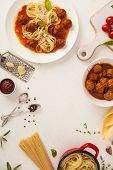 picture of meatball  - Spaghetti with meatballs with fresh basil and tomato sauce - JPG