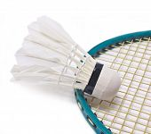 Shuttlecock With Badminton Racket Isolated On White Background.