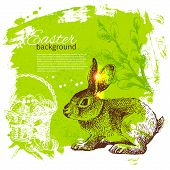 Vintage Easter background with hand drawn sketch illustrations