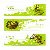 Set of vintage Easter banners with hand drawn sketch illustratio