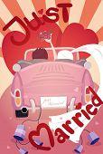 pic of beetle car  - Just married wedding invitation card design eps10 vector format - JPG