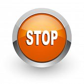 stop orange glossy web icon