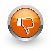 dislike orange glossy web icon