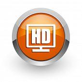 hd display orange glossy web icon