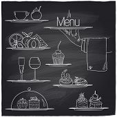 Chalk banquet food symbols on a chalkboard. Eps10