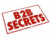 B2B Secrets stamped in red ink promising information, tips, advice and expert opinions on how to sel