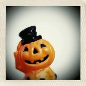 Instagram filtered image of a smiling mid century plastic jack o lantern