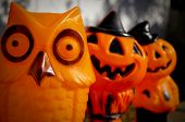 row of vintage mid century plastic halloween decorations