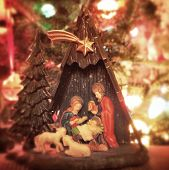 Instagram filtered image of a Christmas nativity scene