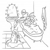 Woman lying in the bath, contour vector illustration