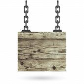 Old Color Wooden Board With Chain